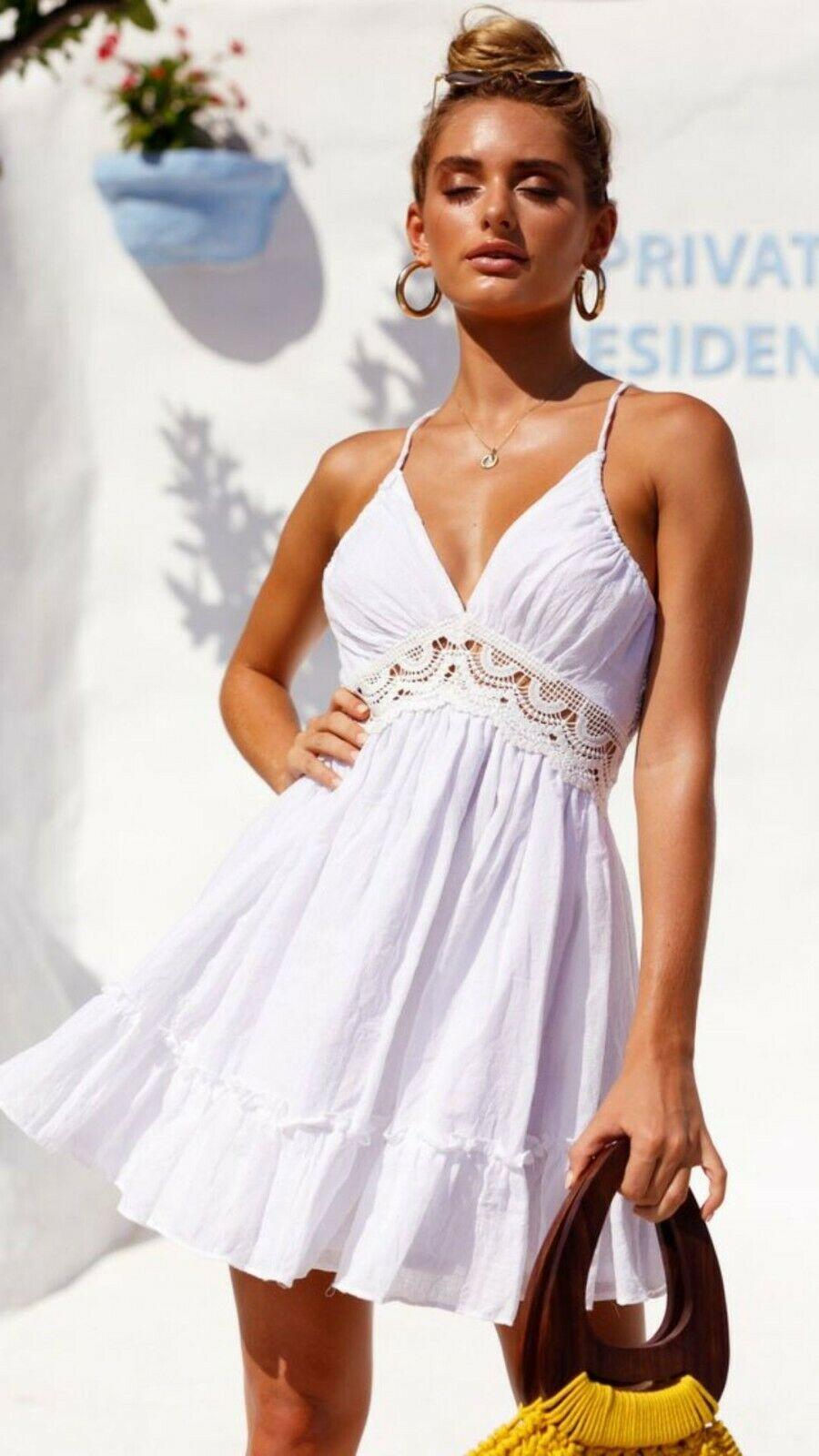 Womens Backless Sleeveless Bohemia Mini Dress Summer Beach Party Short Sundress